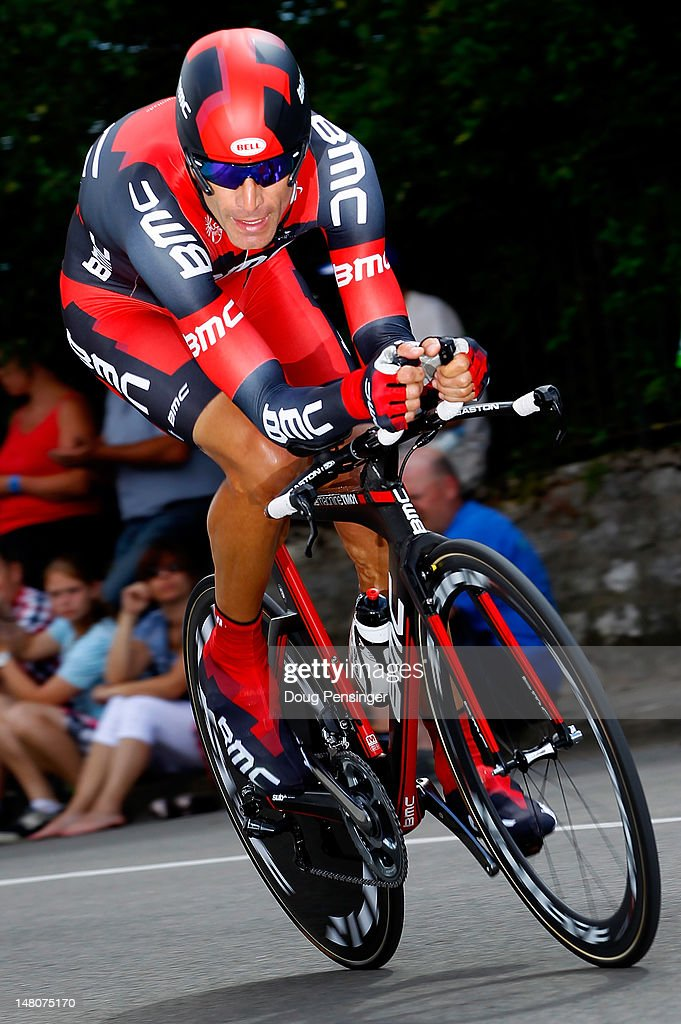 <a gi-track='captionPersonalityLinkClicked' href=/galleries/search?phrase=George+Hincapie&family=editorial&specificpeople=534468 ng-click='$event.stopPropagation()'>George Hincapie</a> of the USA riding for BMC Racing races to 63rd place in the individual time trial in stage nine of the 2012 Tour de France from Arc-et-Senans to Besancon on July 9, 2012 in Besancon, France.