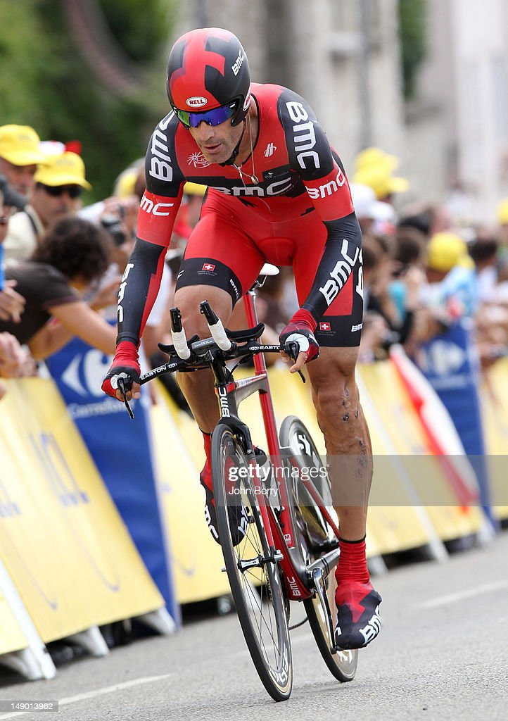 George Hincapie of USA and BMC Racing Team in action during stage nineteen of the 2012 Tour de France, a 53.5km time trial from Bonneval to Chartres on July 21, 2012 in Chartres, France.