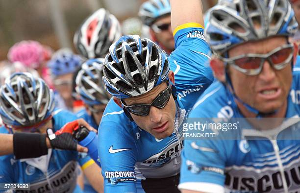 George Hincapie rides during the 90th Tour of Flanders cycling race between Brugge and Ninove 02 April 2006 Belgian Tom Boonen won ahead of...