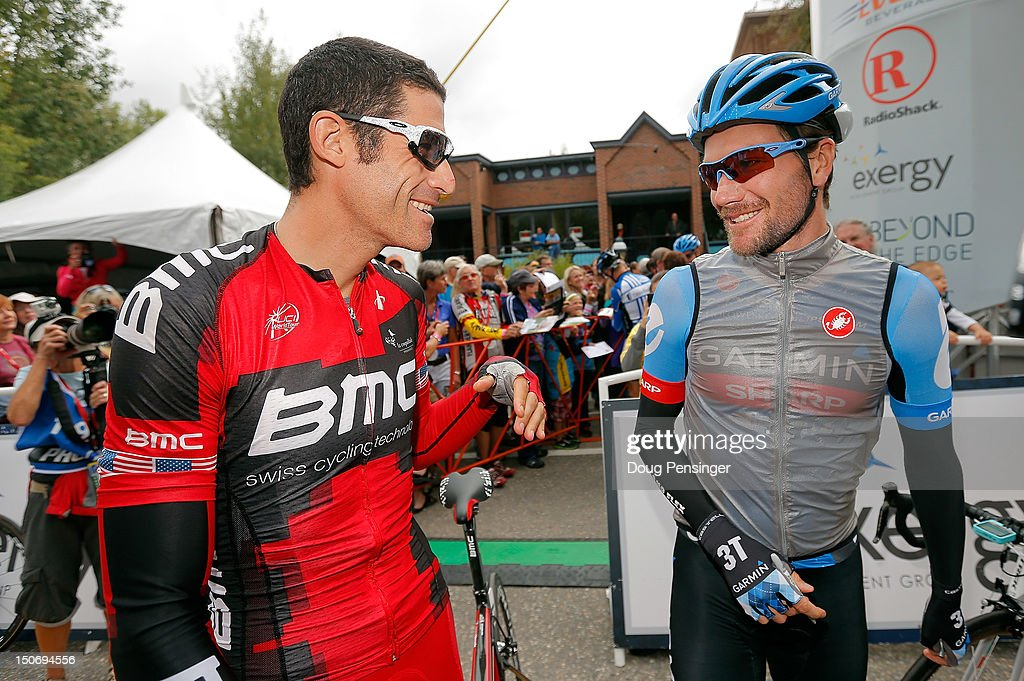 George Hincapie riding for BMC Racing and David Zabriskie riding for Garmin-Sharp prepare for the start of stage five of the USA Pro Challenge from Breckenridge to Colorado Springs on August 24, 2012 in Breckenridge, Colorado.