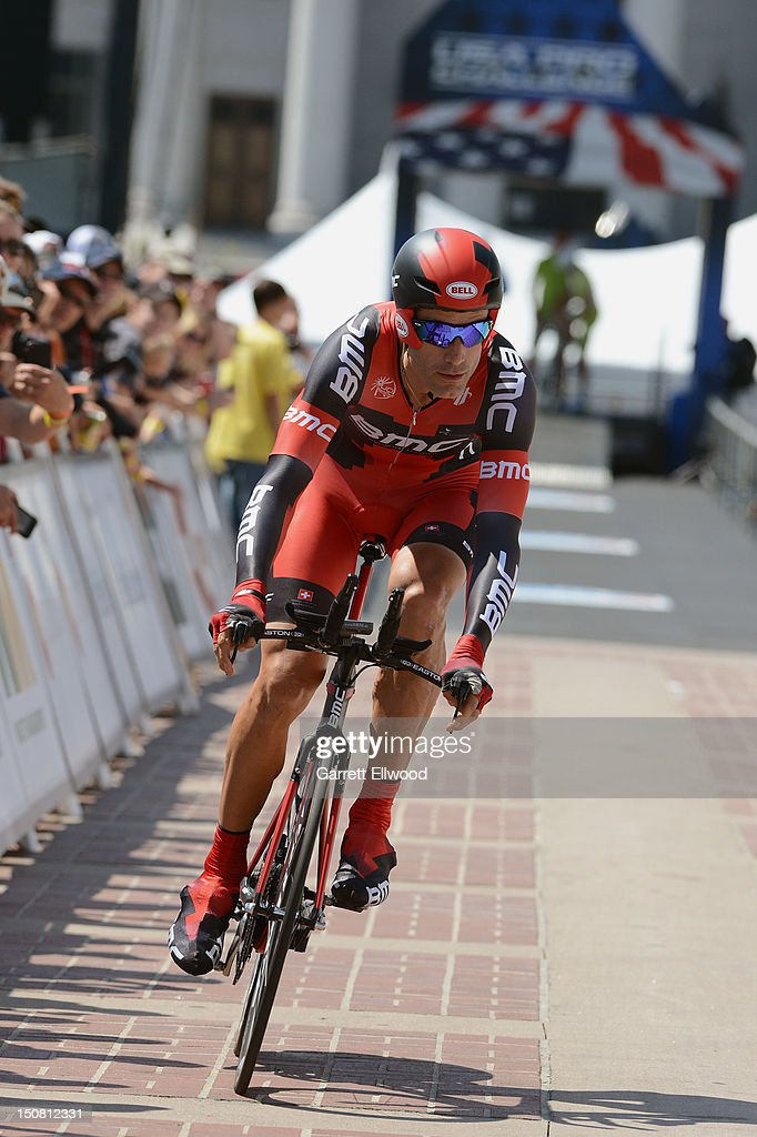 George Hincapie riding for BMC Racing leaves the start house for the last time in his professional career during the individual time trial during stage seven of the USA Pro Challenge on August 26, 2012 in Denver, Colorado.