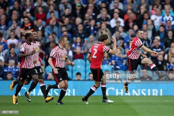 George Honeyman of Sunderland celebrates after scoring a goal to make it 01 during the Sky Bet Championship match between Sheffield Wednesday and...