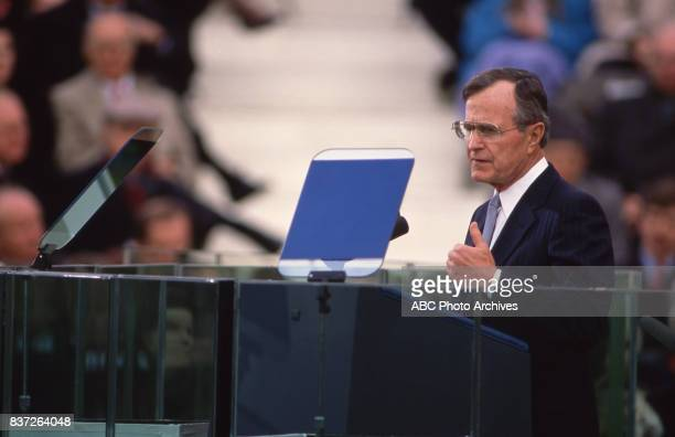 George HW Bush delivers his inaugural speech after being sworn into office