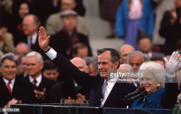 George HW Bush delivers his inaugural speech after being sworn into office Wife Barbara Bush at his side