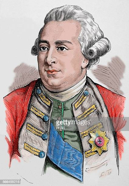 George III King of Great Britain and Ireland later King of the United Kingdom and of Hanover Colored engraving 'Nuestro Siglo' 1883