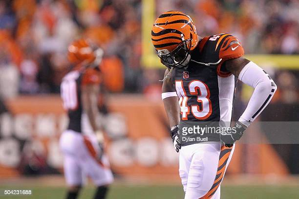 George Iloka of the Cincinnati Bengals reacts in the fourth quarter against the Pittsburgh Steelers during the AFC Wild Card Playoff game at Paul...