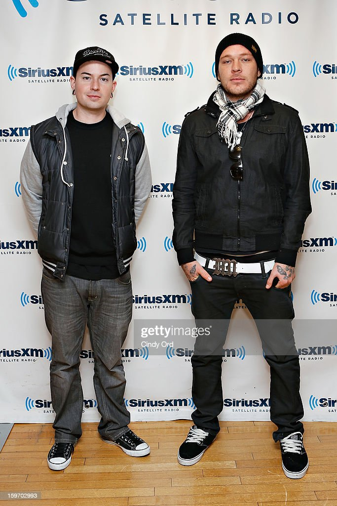 George 'Johnny 3 Tears' Ragan and Jorel 'J-Dog' Decker of Hollywood Undead visit the SiriusXM Studios on January 18, 2013 in New York City.