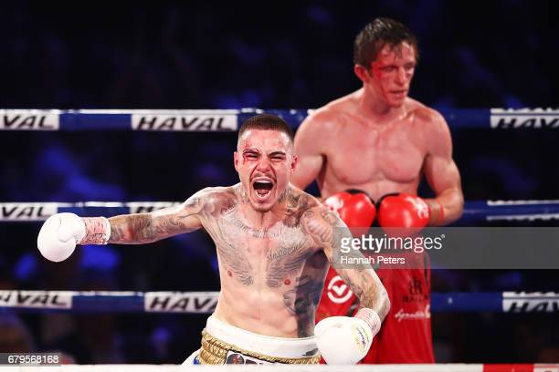 George Kambosos Jr of Australia celebrates beating Qamil Balla at Vodafone Events Centre on May 6 2017 in Auckland New Zealand