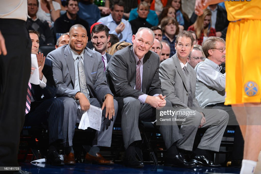 George Karl, Head Coach of the Denver Nuggets, looks on from the bench during the game against the Boston Celtics on February 19, 2013 at the Pepsi Center in Denver, Colorado.