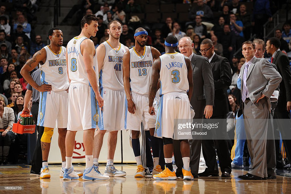 George Karl, Head Coach of the Denver Nuggets, talks with his team during a break in play against the Indiana Pacers on January 28, 2013 at the Pepsi Center in Denver, Colorado.