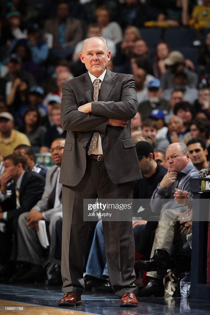 <a gi-track='captionPersonalityLinkClicked' href=/galleries/search?phrase=George+Karl&family=editorial&specificpeople=204519 ng-click='$event.stopPropagation()'>George Karl</a> of the Denver Nuggets looking on during the game against the Memphis Grizzlies on December 29, 2012 at FedExForum in Memphis, Tennessee.