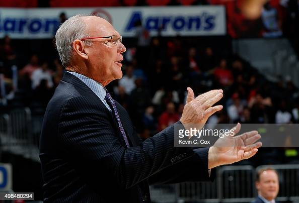 George Karl of the Sacramento Kings against the Atlanta Hawks at Philips Arena on November 18 2015 in Atlanta Georgia NOTE TO USER User expressly...