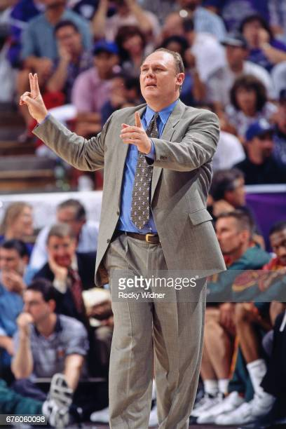 George Karl of the Seattle SuperSonics looks on against the Sacramento Kings circa 1995 at Arco Arena in Sacramento California NOTE TO USER User...