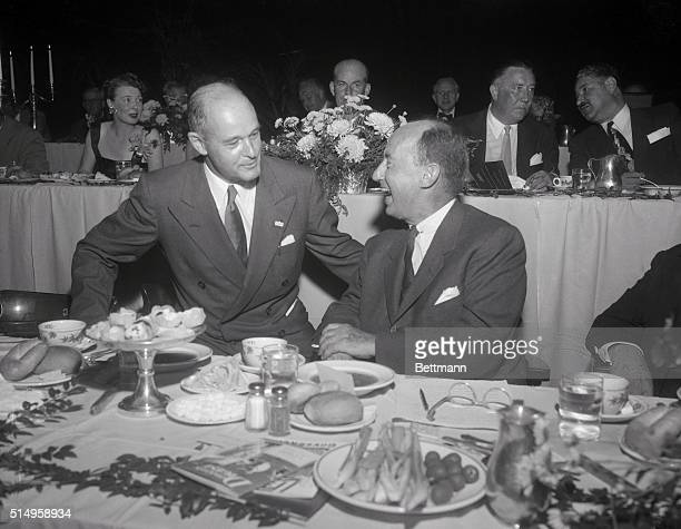George Kennan former Ambassador to Russia talks with Adlai Stevenson during the Pennsylvania State Democratic dinner The Democratic standard bearer...
