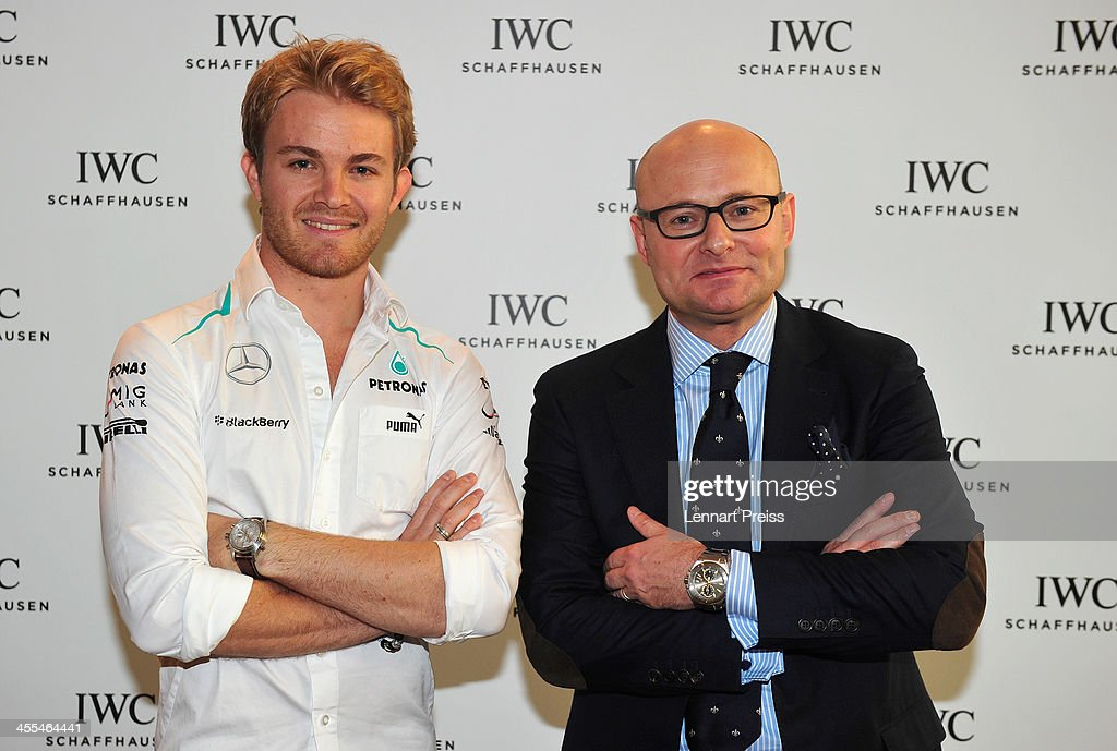 George Kern (R), CEO of swiss watch manufacturer IWC and <a gi-track='captionPersonalityLinkClicked' href=/galleries/search?phrase=Nico+Rosberg&family=editorial&specificpeople=800808 ng-click='$event.stopPropagation()'>Nico Rosberg</a> pose after a watchmaking class by swiss watch manufacturer IWC at The Charles Hotel on December 12, 2013 in Munich, Germany.