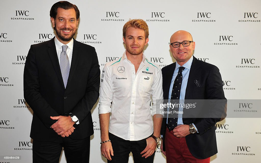 George Kern (R-L), CEO of swiss watch manufacturer IWC, <a gi-track='captionPersonalityLinkClicked' href=/galleries/search?phrase=Nico+Rosberg&family=editorial&specificpeople=800808 ng-click='$event.stopPropagation()'>Nico Rosberg</a> and Henrik Ekdahl, Director Northern-Europe IWC pose after a watchmaking class by swiss watch manufacturer IWC at The Charles Hotel on December 12, 2013 in Munich, Germany.