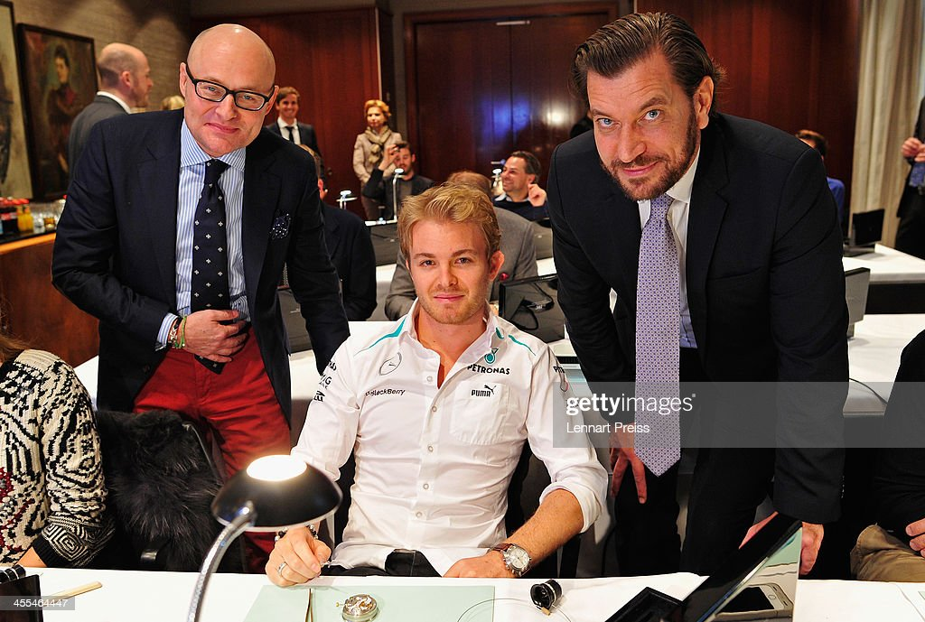 George Kern (L-R), CEO of swiss watch manufacturer IWC, <a gi-track='captionPersonalityLinkClicked' href=/galleries/search?phrase=Nico+Rosberg&family=editorial&specificpeople=800808 ng-click='$event.stopPropagation()'>Nico Rosberg</a> and Henrik Eckdahl, Director Northern-Europe IWC attend a watchmaking class by swiss watch manufacturer IWC at The Charles Hotel on December 12, 2013 in Munich, Germany.