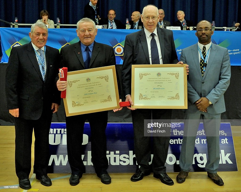 George Kerr CBE and 10th dan presented 9th dans to renowned British women's coach, Roy Inman, and BJA Technical director and Los Angeles Olympic manager, Colin McIver. The presentation was accompanied by BJA chairman and Los Angeles Olympic bronze medallist Kerrith Brown, right, during day 2 of the London British Open Judo Championships at the K2 on May 12, 2013 in Crawley, United Kingdom.
