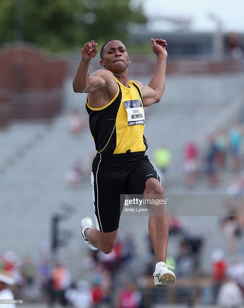 George Kitchens Jr leaps to victory in the Men's Long Jump on day four of the 2013 USA Outdoor Track & Field Championships at Drake Stadium on June 23, 2013 in Des Moines, Iowa.