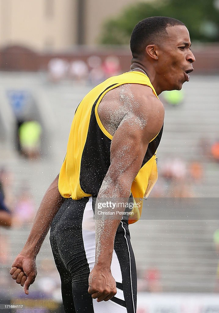 George Kitchens Jr reacts as he competes in the Men's Long Jump finals on day four of the 2013 USA Outdoor Track & Field Championships at Drake Stadium on June 23, 2013 in Des Moines, Iowa.