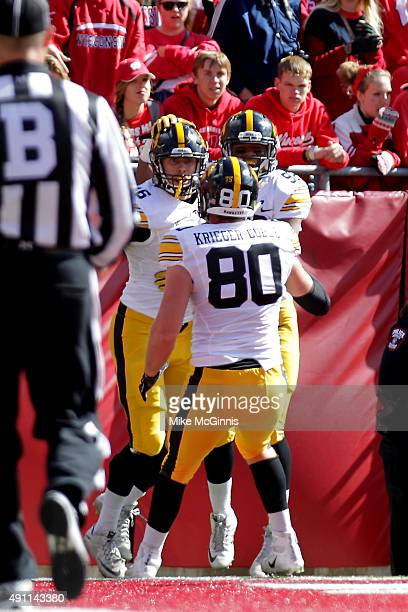 George Kittle of the Iowa Hawkeyes celebrates after scoring a touchdown during the first half against the Wisconsin Badgers at Camp Randall Stadium...