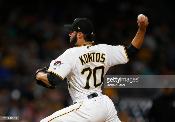 George Kontos of the Pittsburgh Pirates pitches in the eighth inning against the Detroit Tigers during interleague play at PNC Park on August 7 2017...