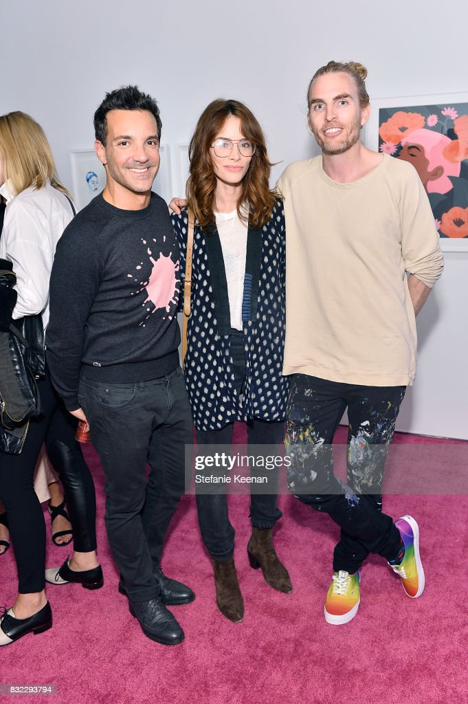 George Kotsiopoulos, Abigail Spencer and Dallas Clayton at 'Pinkie Swear' Makeup Collective Celebrates Launch With Special Exhibition 'Drawn In: Beauty Illustration in the Digital World' Curated by Sarah Brown at Wilding Cran Gallery on August 15, 2017 in Los Angeles, California.