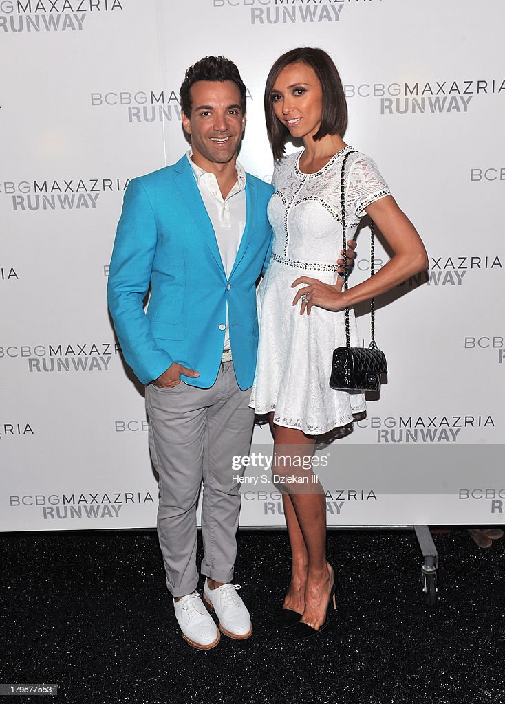 George Kotsiopoulos and television personality Giuliana Rancic pose backstage at the BCBGMAXAZRIA show during Spring 2014 Mercedes-Benz Fashion Week at The Theatre at Lincoln Center on September 5, 2013 in New York City.