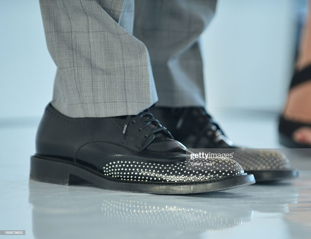 <a gi-track='captionPersonalityLinkClicked' href=/galleries/search?phrase=George+Kotsiopoulos&family=editorial&specificpeople=2530004 ng-click='$event.stopPropagation()'>George Kotsiopoulos</a> (shoe detail) appears at The Colonnade Outlets at the Sawgrass Mills Tour de Fashion at Sawgrass Mills Mall on October 25, 2013 in Sunrise, Florida.
