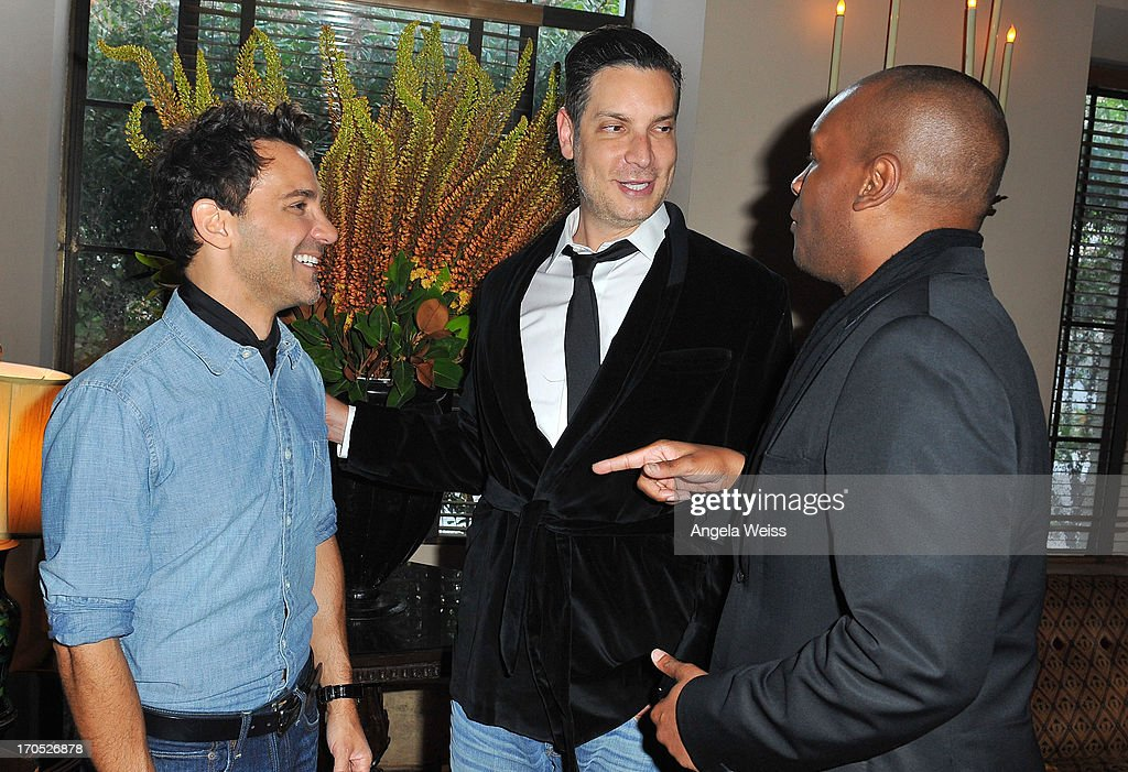 George Kotsiopoulos, Cameron Silver and Marcellas Reynolds attend Lucky Brand's Measure of Style Dinner at Chateau Marmont on June 13, 2013 in Los Angeles, California.