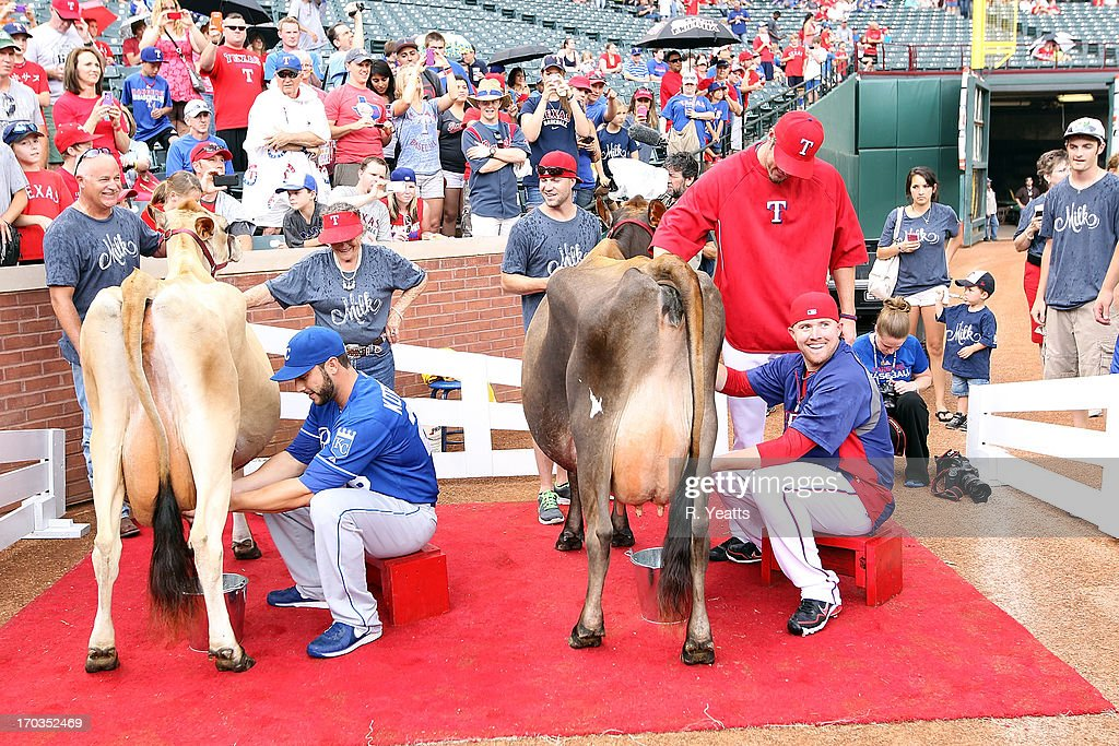 George Kottaras #26 of the Kansas City Royals and Robbie Ross #46 of the Texas Rangers compete in a rookie cow-milking contest sponsored by Dairy Max at Rangers Ballpark in Arlington on June 1, 2013 in Arlington, Texas.