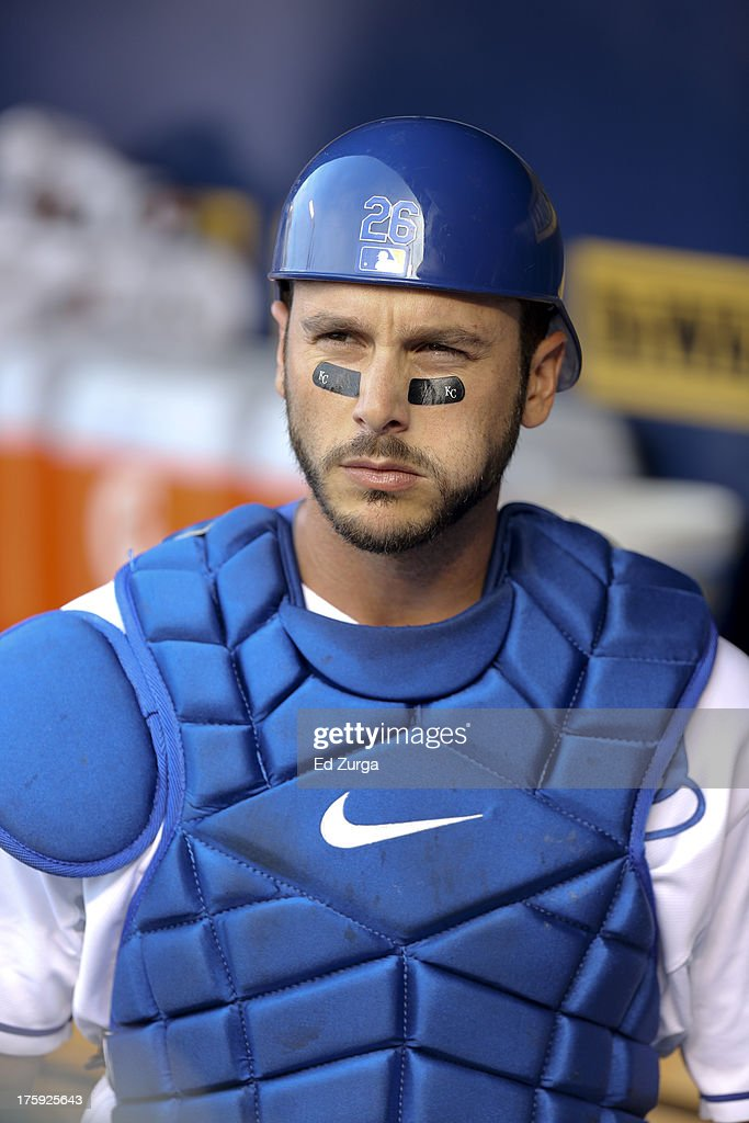 George Kottaras #26 of the Kansas City Royals suits up prior to a game against the Minnesota Twins at Kauffman Stadium August, 5, 2013 in Kansas City, Missouri.