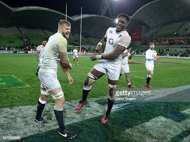 George Kruis and Maro Itoje of England celebrate after thier victory during the International Test match between the Australian Wallabies and England...