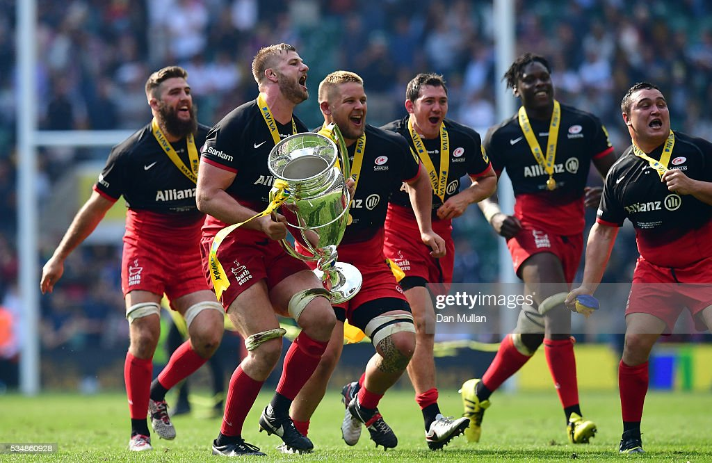 <a gi-track='captionPersonalityLinkClicked' href=/galleries/search?phrase=George+Kruis&family=editorial&specificpeople=6179640 ng-click='$event.stopPropagation()'>George Kruis</a> and Saracens players celebrate after the Aviva Premiership final match between Saracens and Exeter Chiefs at Twickenham Stadium on May 28, 2016 in London, England.