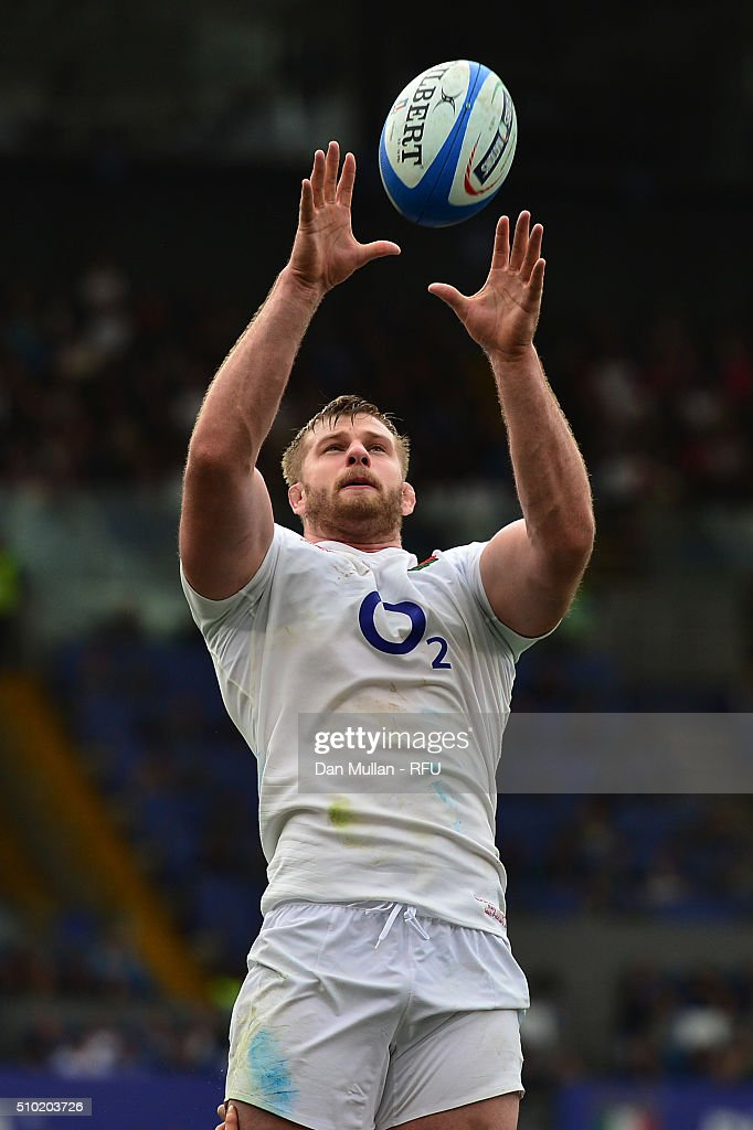 <a gi-track='captionPersonalityLinkClicked' href=/galleries/search?phrase=George+Kruis&family=editorial&specificpeople=6179640 ng-click='$event.stopPropagation()'>George Kruis</a> of England wins lineout ball during the RBS Six Nations match between Italy and England at the Stadio Olimpico on February 14, 2016 in Rome, Italy.