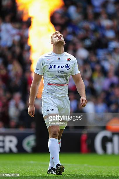George Kruis of Saracens looks up during the Aviva Premiership Final between Bath Rugby and Saracens at Twickenham Stadium on May 30 2015 in London...