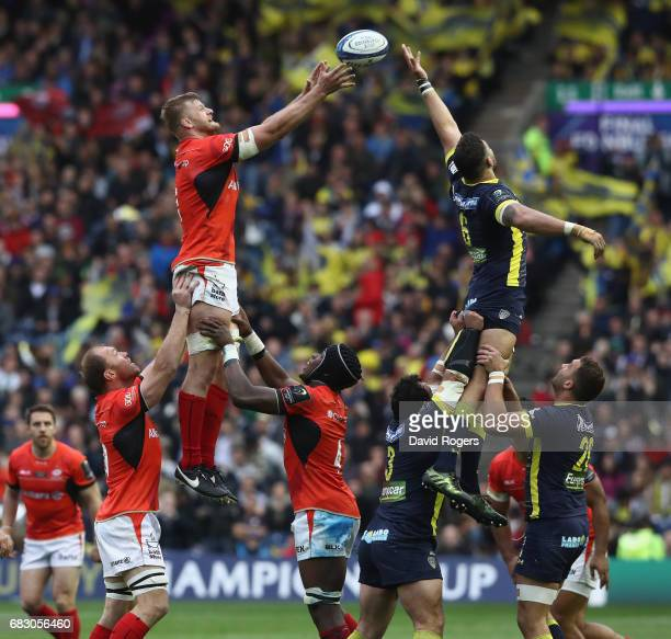 George Kruis of Saracens wins the lineout ball from Damien Chouly during the European Rugby Champions Cup Final between ASM Clermont Auvergen and...