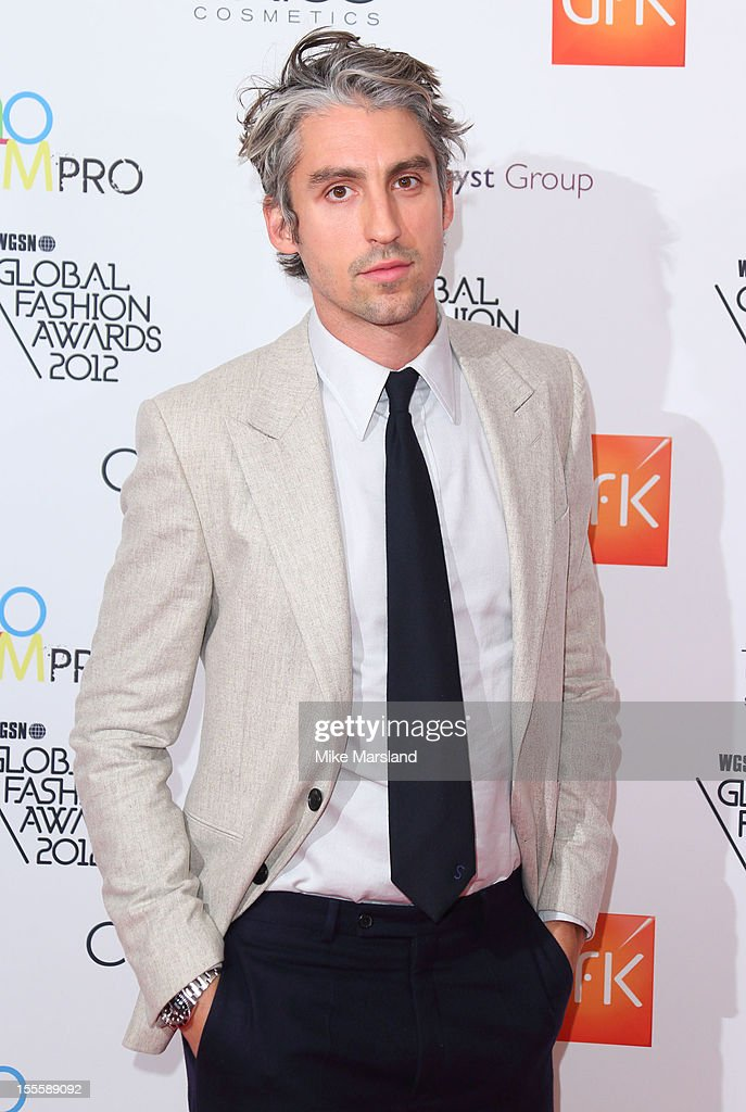 George Lamb poses in the awards room at the WGSN Global Fashion Awards at The Savoy Hotel on November 5, 2012 in London, England.