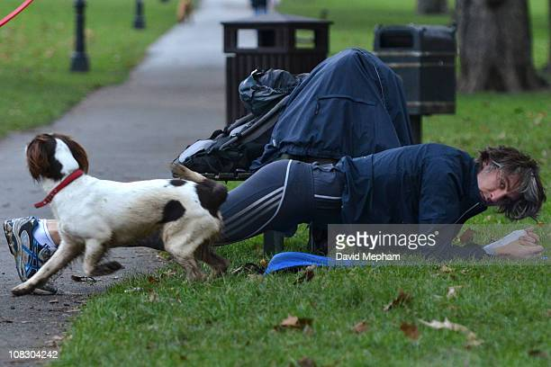 George Lamb works out in Primrose Hill on January 25 2011 in London England