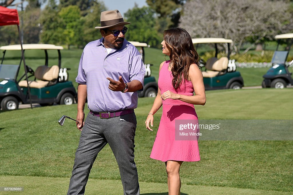George Lopez (L) and actress Eva Longoria attends the 9th Annual George Lopez Celebrity Golf Classic to benefit The George Lopez Foundation at Lakeside Golf Club on May 2, 2016 in Burbank, California.