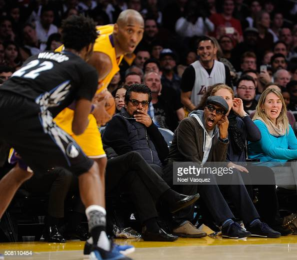 George Lopez and Arsenio Hall attend a basketball game between the Minnesota Timberwolves and the Los Angeles Lakers at Staples Center on February 2...
