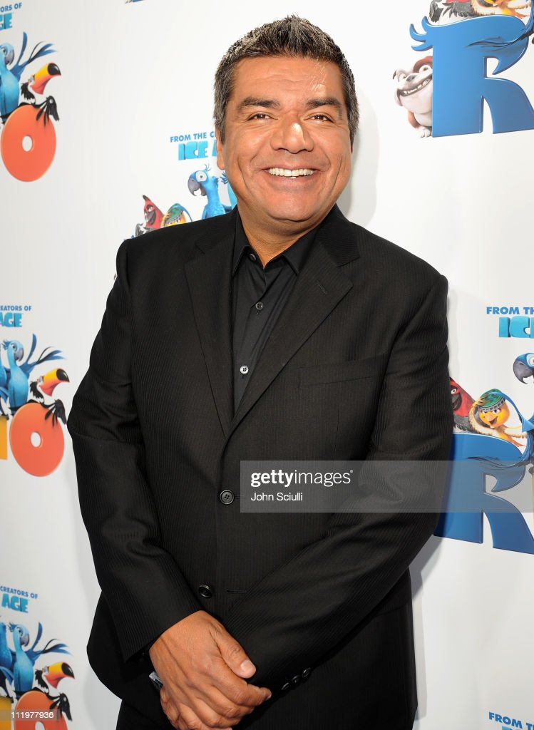 <a gi-track='captionPersonalityLinkClicked' href=/galleries/search?phrase=George+Lopez&family=editorial&specificpeople=202546 ng-click='$event.stopPropagation()'>George Lopez</a> arrives for the premiere of Twentieth Century Fox & Blue Sky Studios' 'RIO' on April 10, 2011 in Hollywood, California.