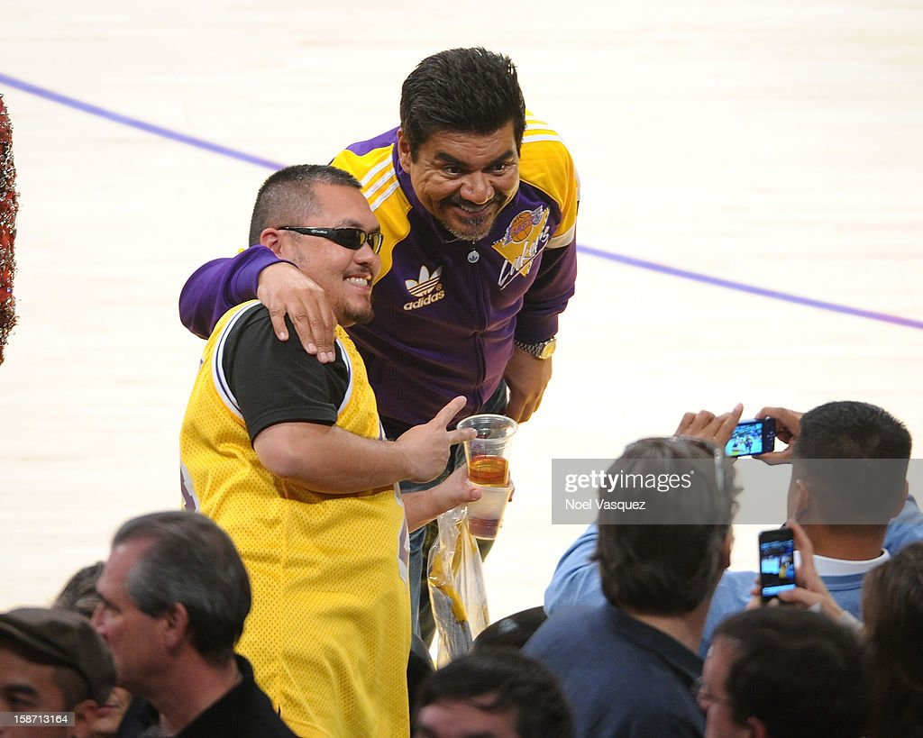 George Lopez attends a basketball game between the New York Knicks and the Los Angeles Lakers at Staples Center on December 25, 2012 in Los Angeles, California.