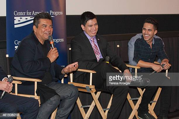 George Lopez Oscar Vasquez and Carlos PenaVega speak onstage at the 'Spare Parts' screening at Landmark E Street Cinema on January 13 2015 in...