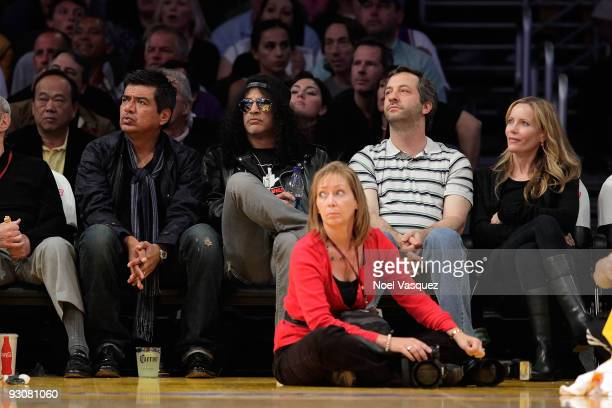 George Lopez Slash Judd Apatow and Leslie Mann attends a game between the Houston Rockets and the Los Angeles Lakers at Staples Center on November 15...