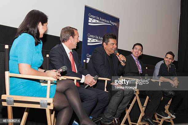 George Lopez speaks onstage at the 'Spare Parts' screening at Landmark E Street Cinema on January 13 2015 in Washington DC