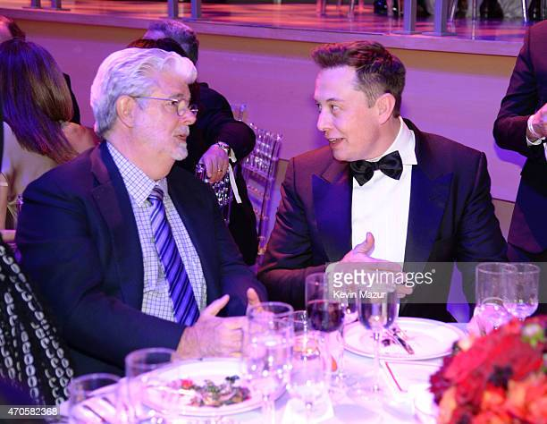 George Lucas and Elon Musk attend TIME 100 Gala TIME's 100 Most Influential People In The World at Jazz at Lincoln Center on April 21 2015 in New...