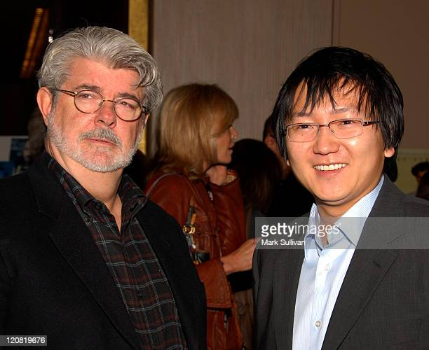 George Lucas and Masi Oka during 44th Annual ICG Publicists Awards Arrivals at Beverly Hilton Hotel in Beverly Hills California United States
