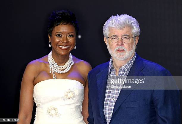 George Lucas and Mellody Hobson attend the European Premiere of 'Star Wars The Force Awakens' at Leicester Square on December 16 2015 in London...