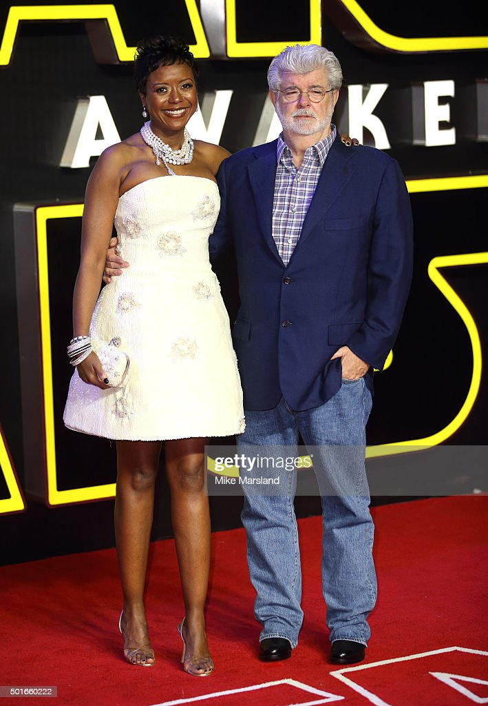 George Lucas and Mellody Hobson attend the European Premiere of 'Star Wars: The Force Awakens' at Leicester Square on December 16, 2015 in London, England.